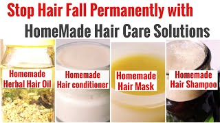 DIY Natural Hair Care Solution HomeMade Shampoo Conditioner Mask Hair Oil Stop Hair Fall