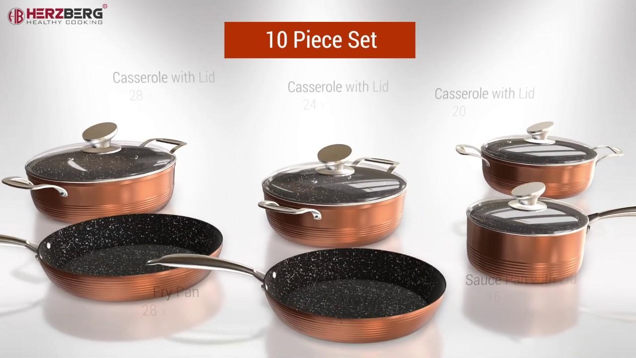Herzberg Hg 6019 Non Stick Marble Coating High Quality Forged Aluminium Cookware Set 10 Pcs