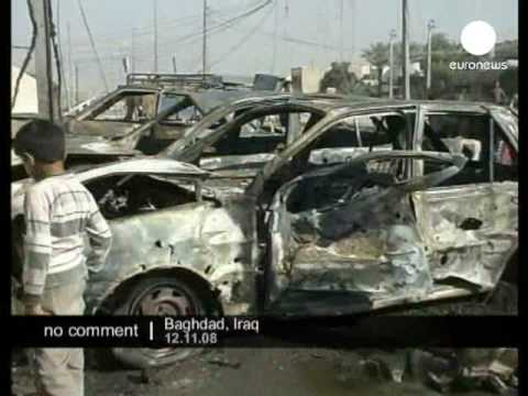 Rests of a car bomb outside school in Baghdad, Iraq.