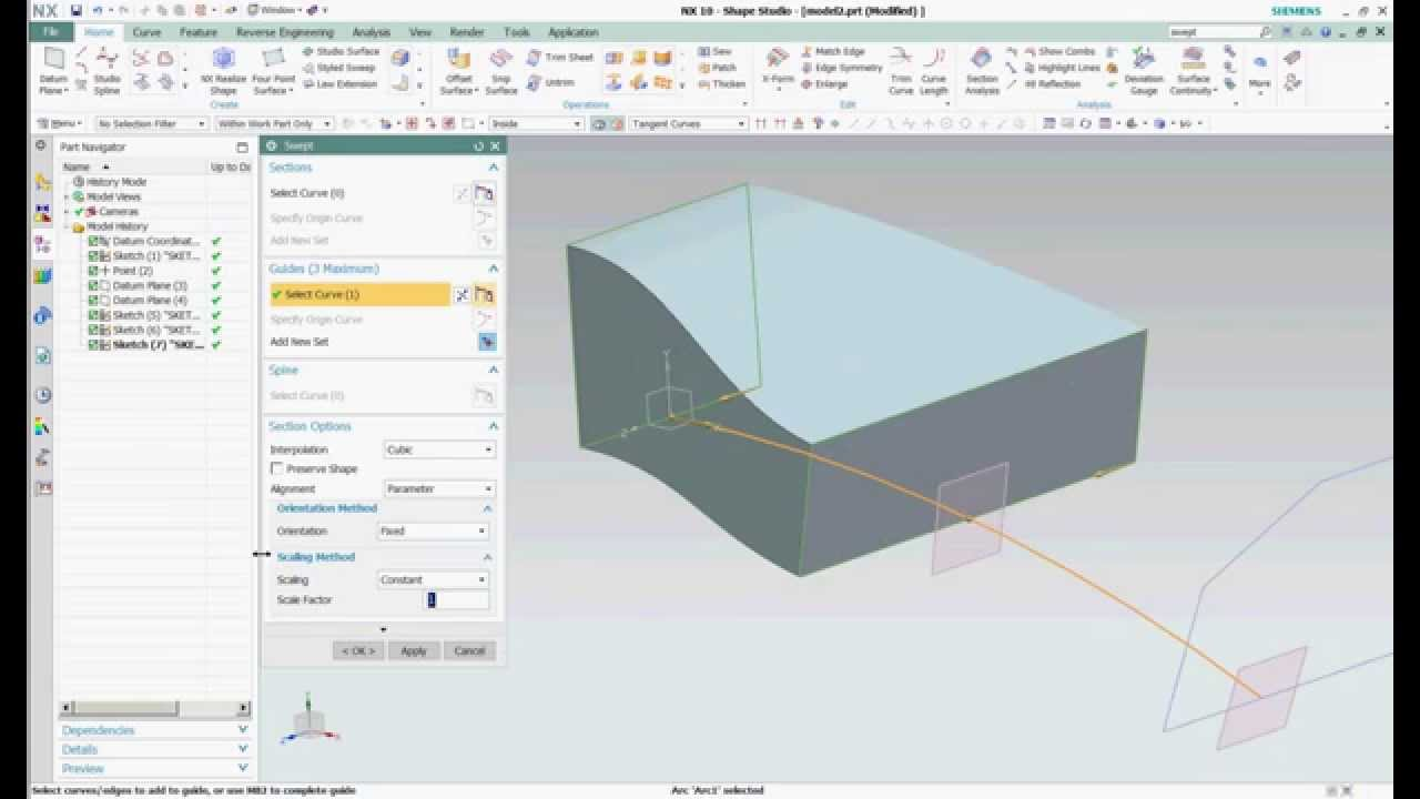 Siemens NX 10 | Swept 3 Sections