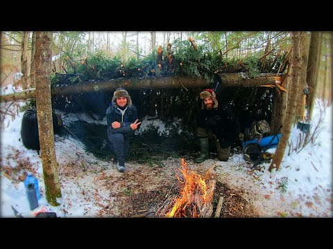 Primitive Bushcraft Shelter Lean-To Build — Winter Survival, Camping Overnight in -16c temperature!