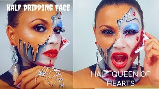 SFX HALF MELTING FACE | HALF QUEEN OF HEARTS | HALLOWEEN MAKEUP TUTORIAL