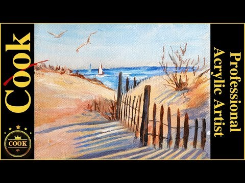 Beach Shadows in The Sand Dunes Acrylic Tutorial with Ginger Cook