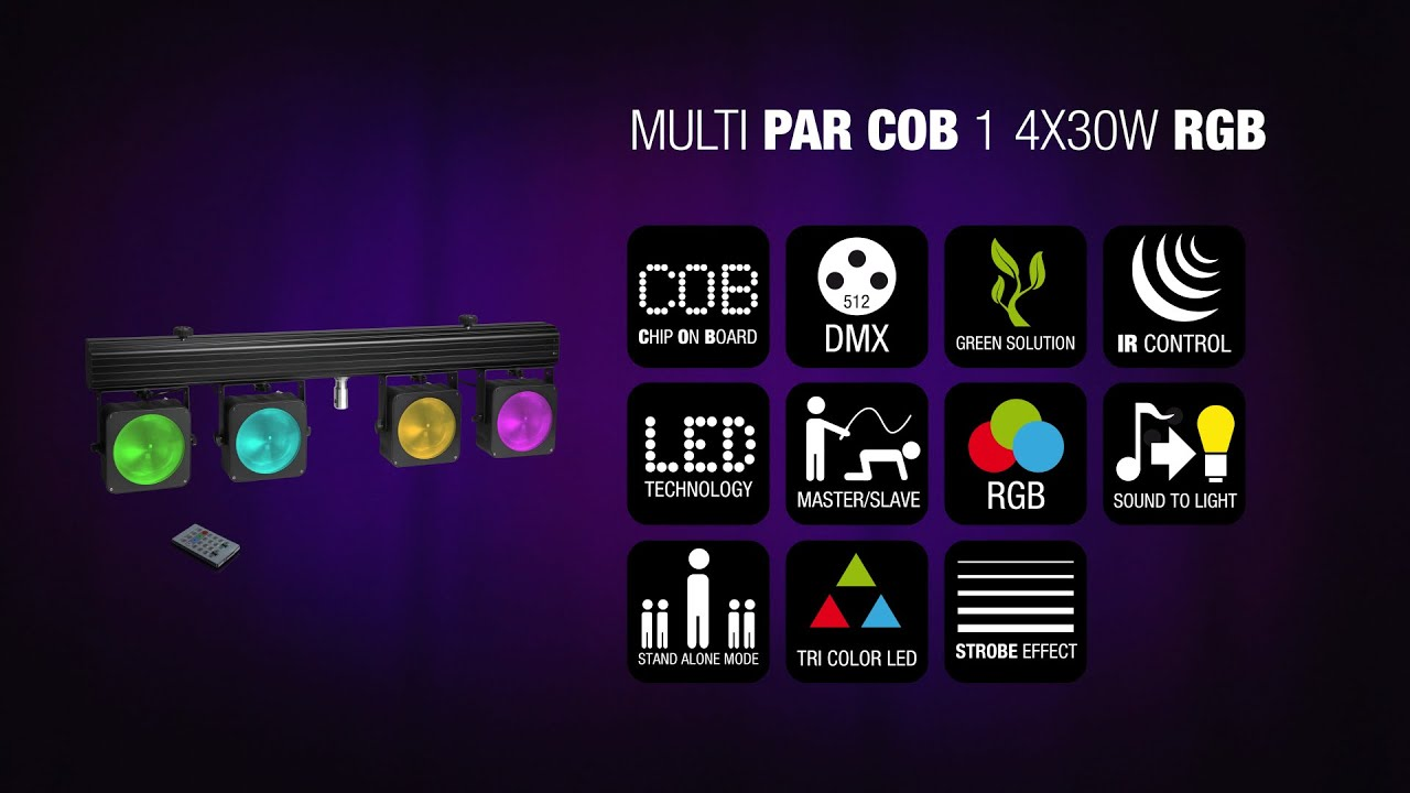 Cameo Multi Par Cob 1 Compact 4 X 30 W Rgb Led Lighting System Light Circuit Board Buy Boardled Incl Transport Case Youtube