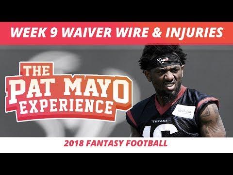 2018 Fantasy Football — Week 9 Waiver Wire Rankings, Injuries, Recap + More