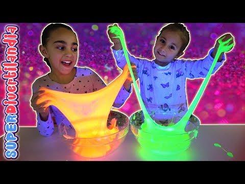SLIME NEÓN GIGANTE! Hacemos Slime fluorescente!