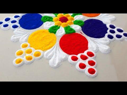 Very Simple and Easy Rangoli Designs For Diwali Festival/दिवाली की सुंदर रंगोली बनाये - thumbnail