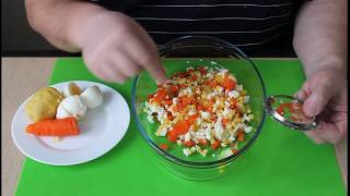 Нарезка сеточкой овощерезкой салат оливье