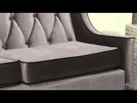 Armen Living Barrister Gray Velvet Sofa   Product Review Video