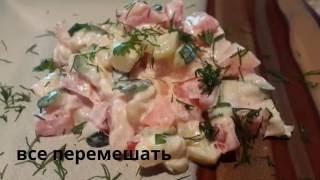 Салат из жареных кабачков с помидорами. Очень вкусно!