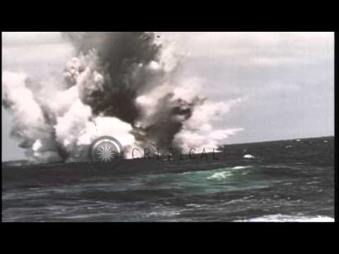 Japanese Submarine SSI 201 Is Sunk By USS Queenfish In The Pacific Ocean After Wo...HD Stock Footage