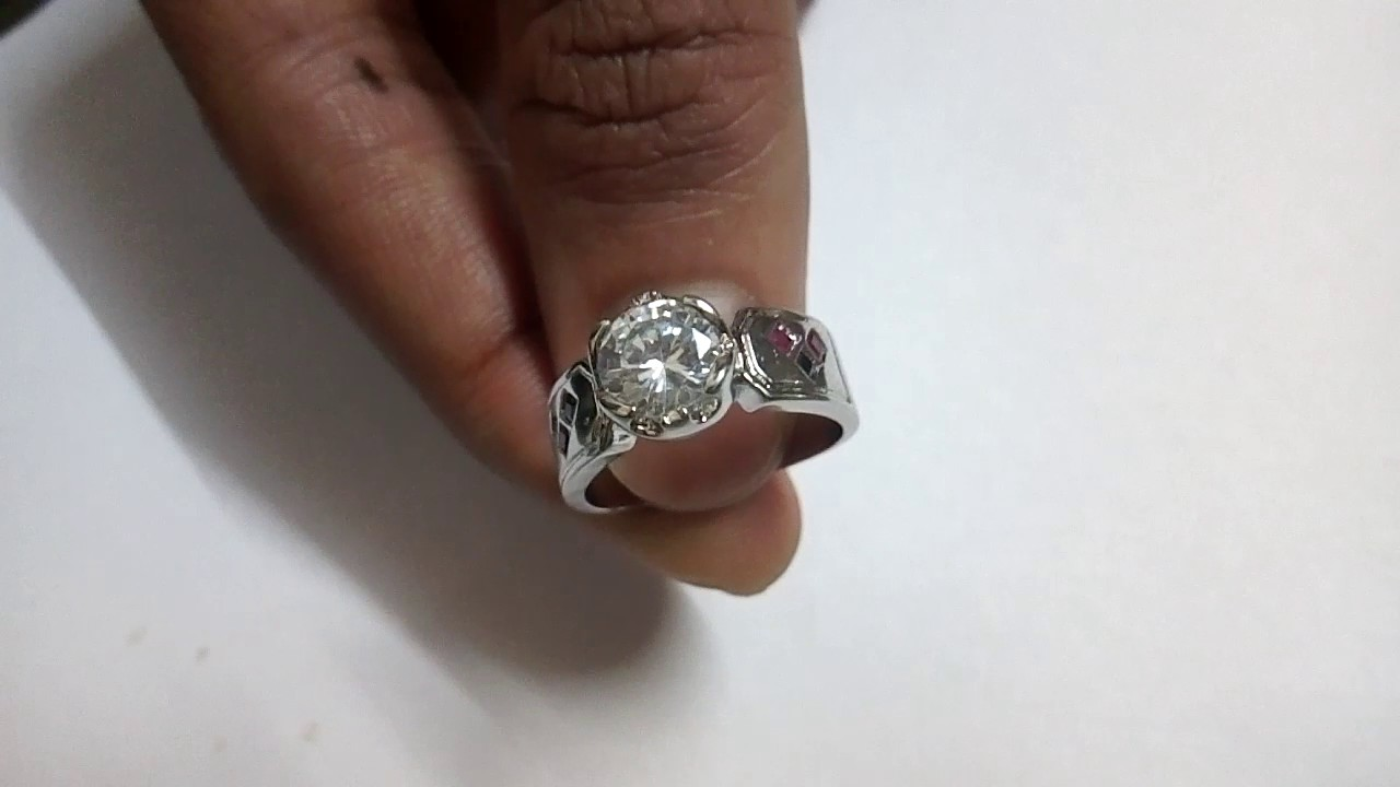 White Round Cut Batman Engagement Ring