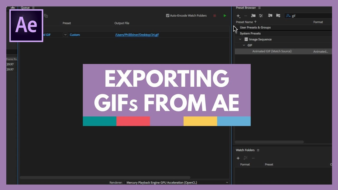 exporting an animated gif from after effects