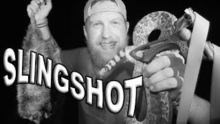 Rattlesnake And Opossum Hunting With A Slingshot / Day  8 Of 30 Day Survival Challenge  Texas