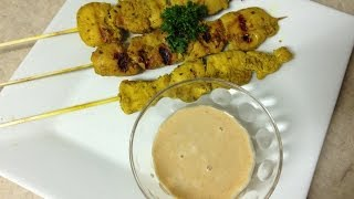 How to make reduced calorie chicken satay with reduced calorie spicy peanut sauce