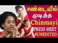 chinmayi & reporters heated argument chinmayi press meet full and unedited me too tamil news live