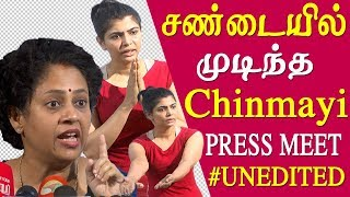 chinmayi & reporters heated argument chinmayi press meet full and unedited me too tamil news liv