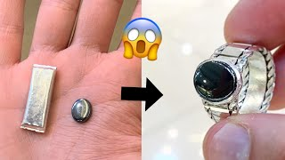 😱😱Wow! Gun Metal Stone in a Silver Ring! Jewelry Making   Making a Ring   How it's made   4K Video