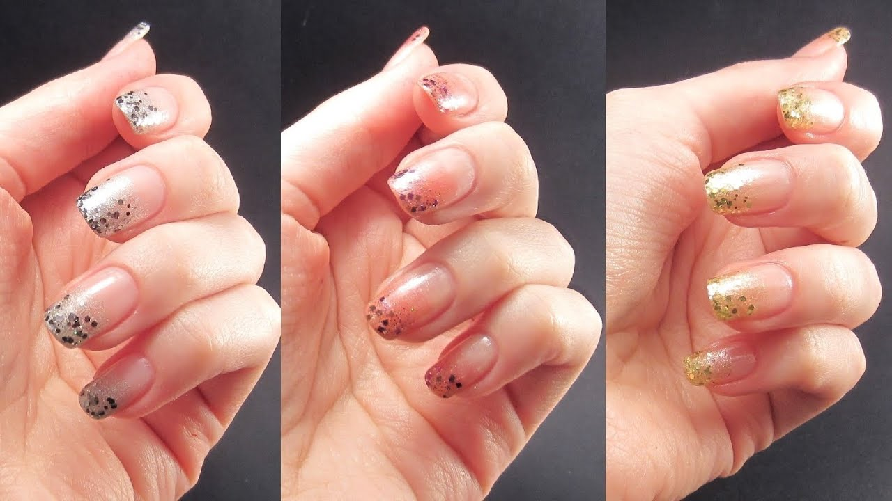 Glitter Tips Nail Art Tutorial - YouTube
