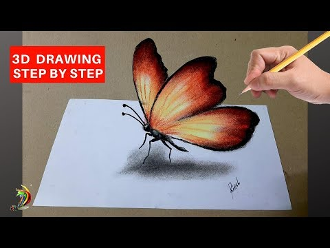 How to Draw 3D Butterfly | 3D Butterfly Drawing Tutorials Step by Step