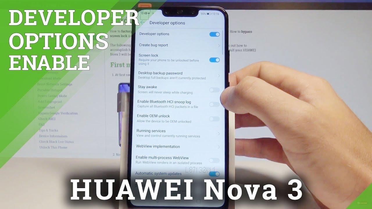 How to Unlock Developer Options in HUAWEI Nova 3 - OEM Unlock / USB  Debugging |HardReset Info