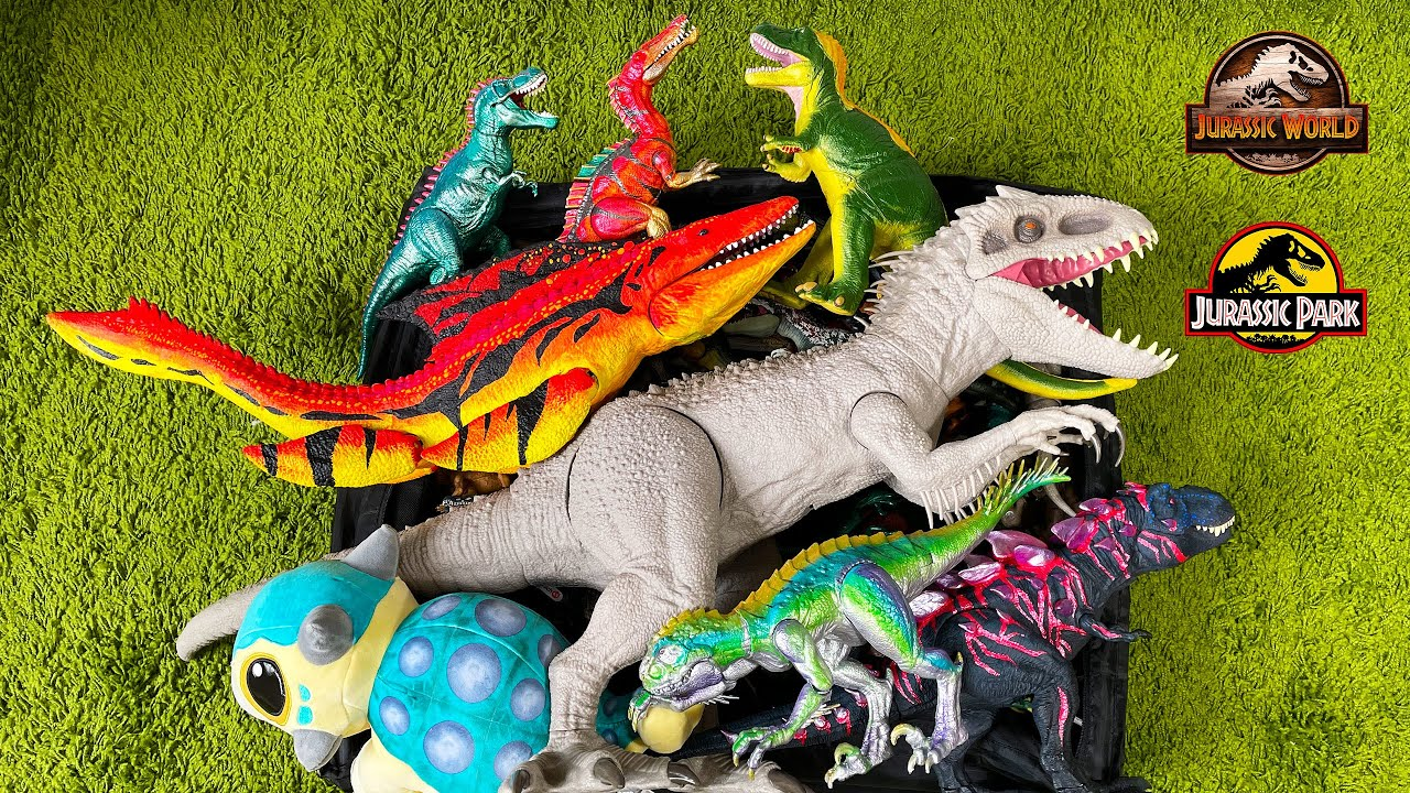 Colossal Box of 120 Dinosaurs from Jurassic World Camp Cretaceous! Indominus Rex Mosasaurus