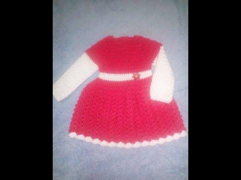 Crosetam rochita ecru pentru 0-3 luni