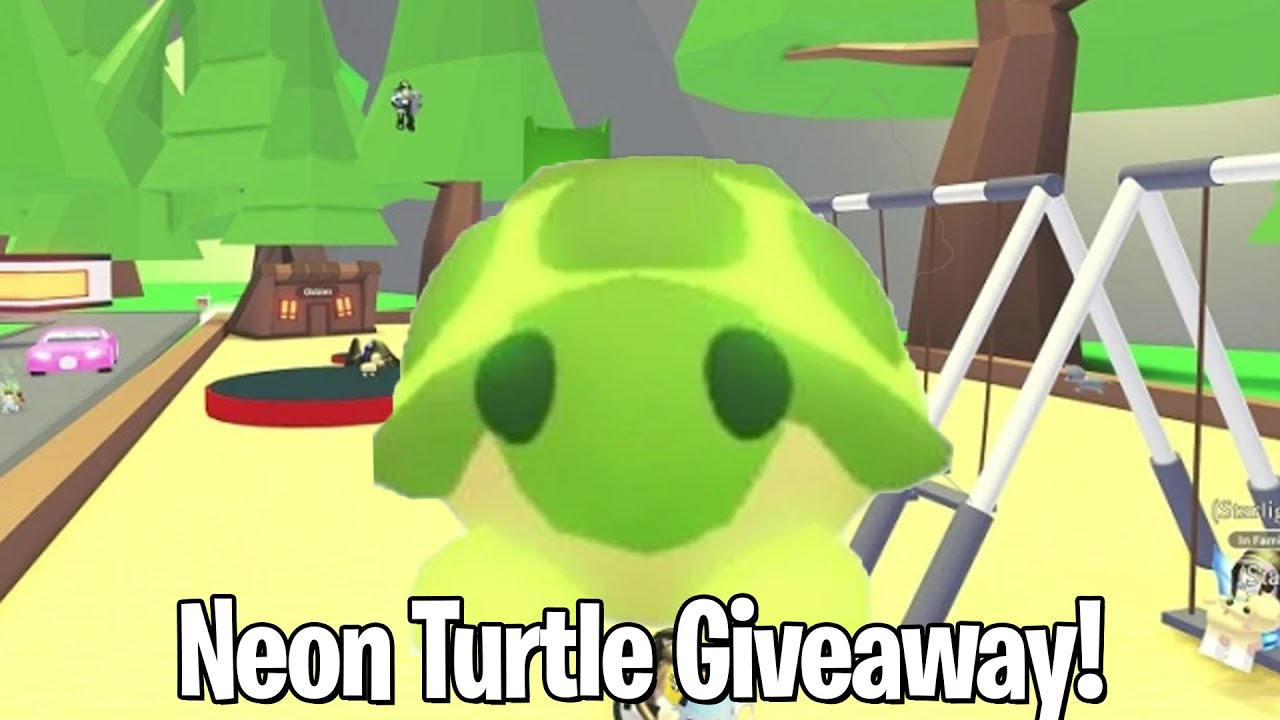 Neon Turtle Giveaway Roblox Adopt Me Youtube
