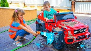 Мелисса и Артур играют в автомойку