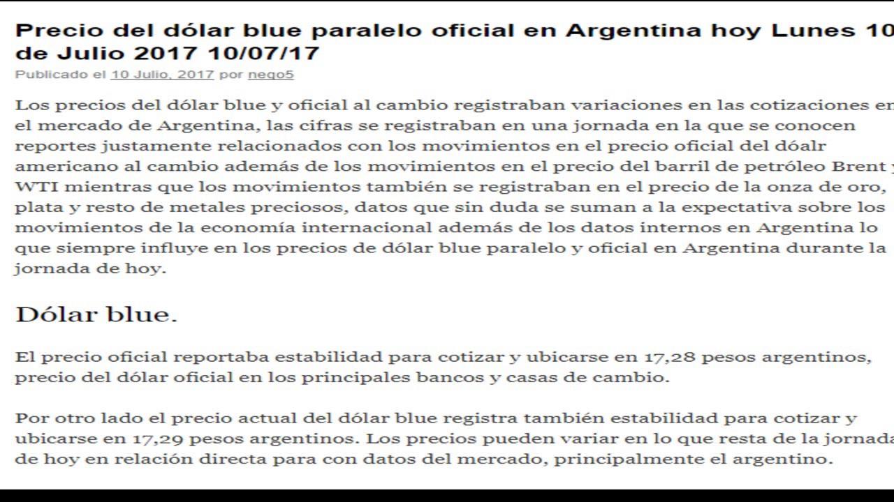 Precio Del Dolar Oficial Blue Paralelo En Argentina Hoy Lunes 10 De Julio 2017 07 17