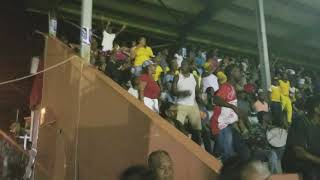 COCONUT BAY FANS CELEBRATE ANOTHER GOAL AT THE SLHTA CHAMPIONS CUP