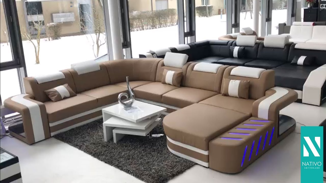nativo mobilier france canap design space xxl blanc beige youtube. Black Bedroom Furniture Sets. Home Design Ideas