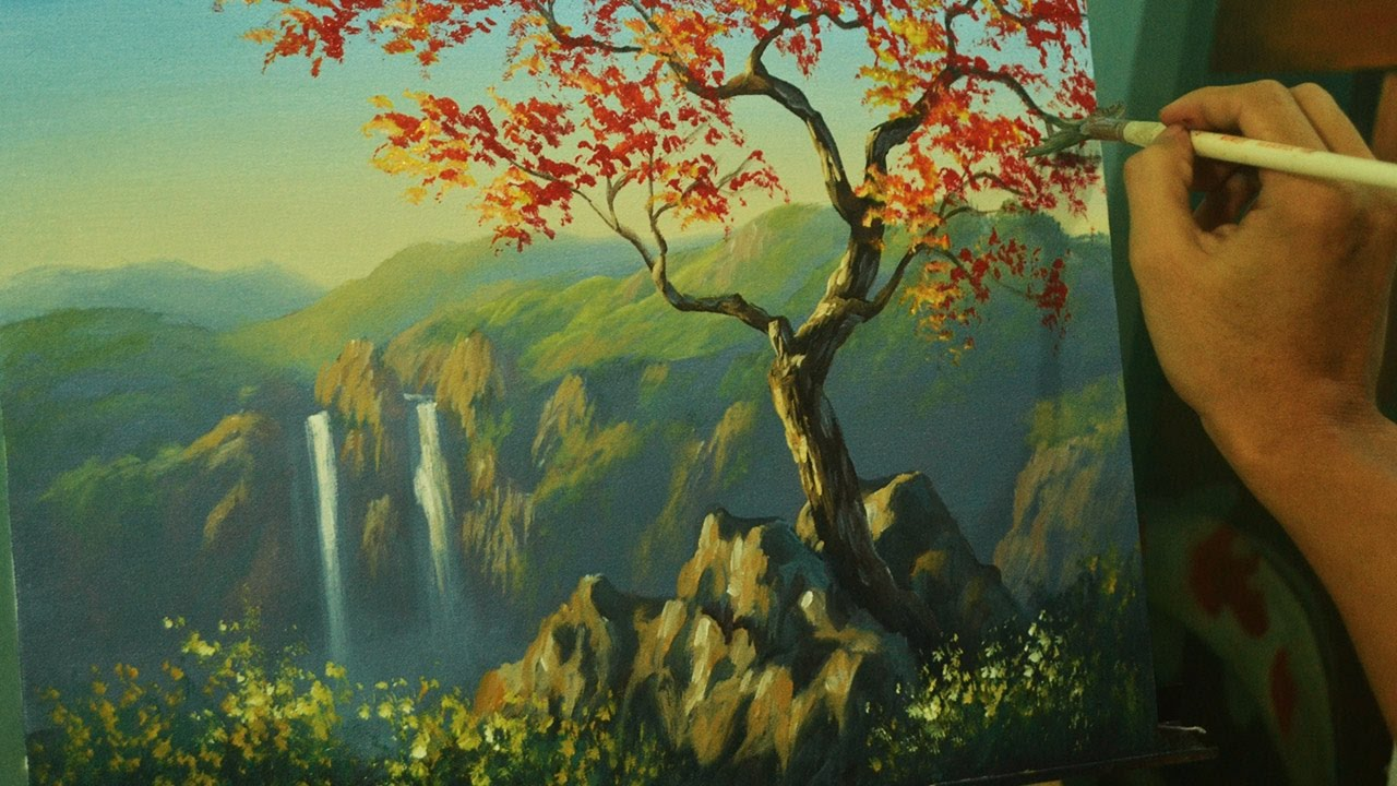 2e04502d9 Acrylic Landscape Painting Tutorial - Autumn Red Tree with Twin Waterfalls  by JM Lisondra by Art of ...