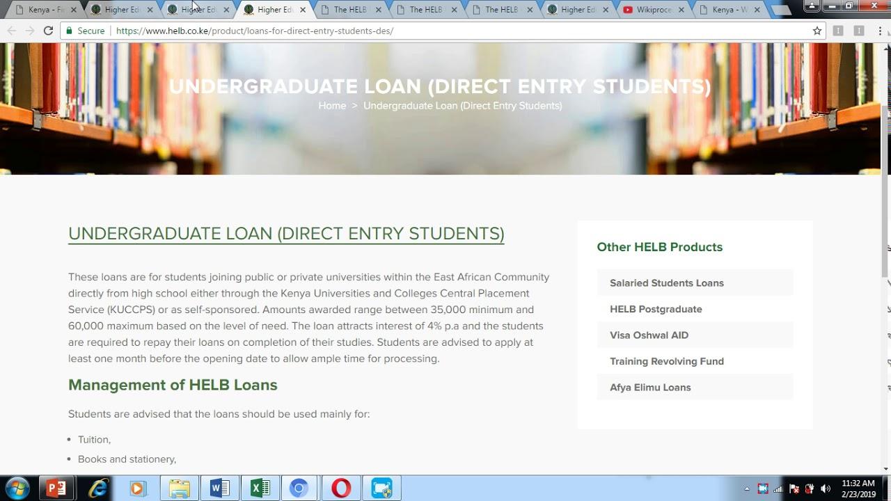 Kenya - First Time Undergraduate HELB Loan Application