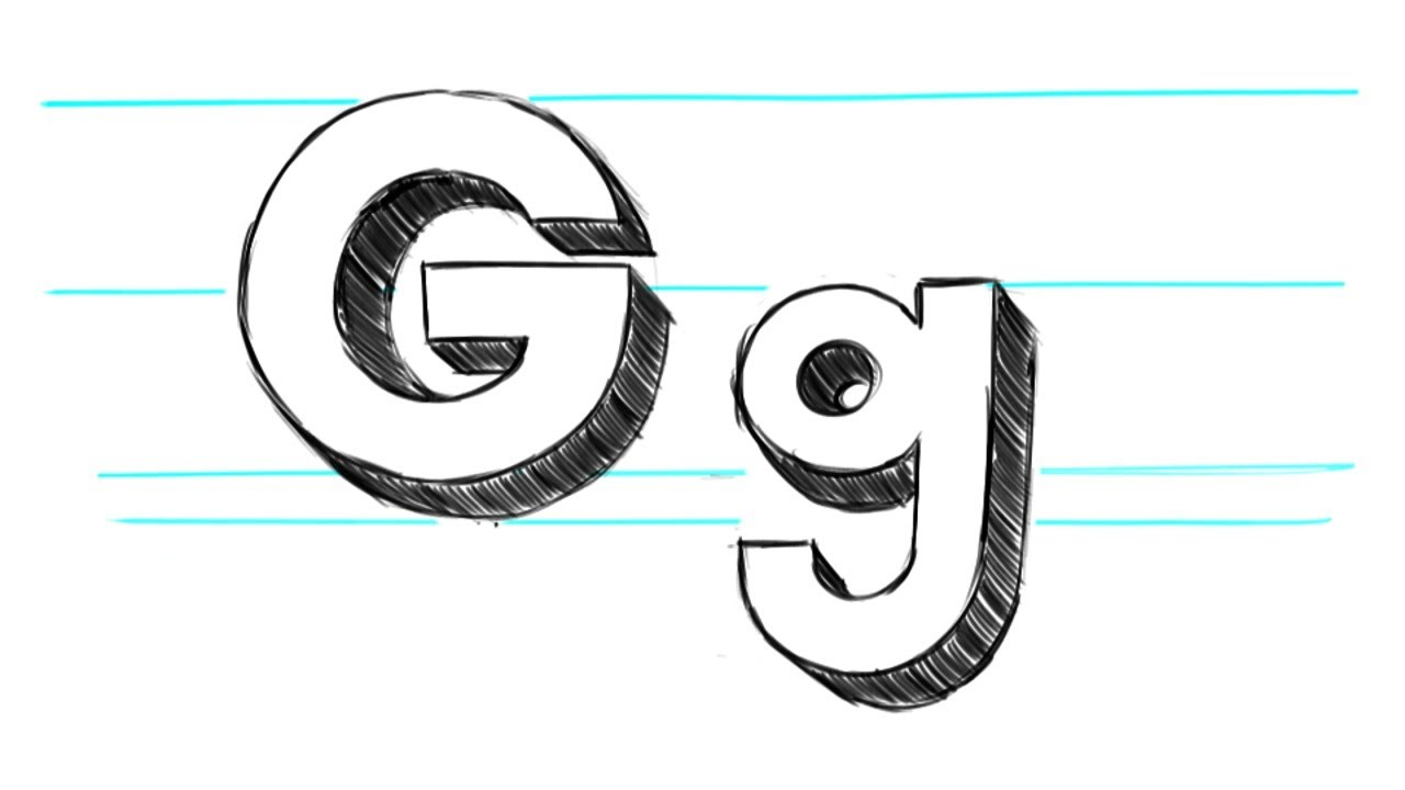 how to draw 3d letters g uppercase g and lowercase g in 90 seconds youtube