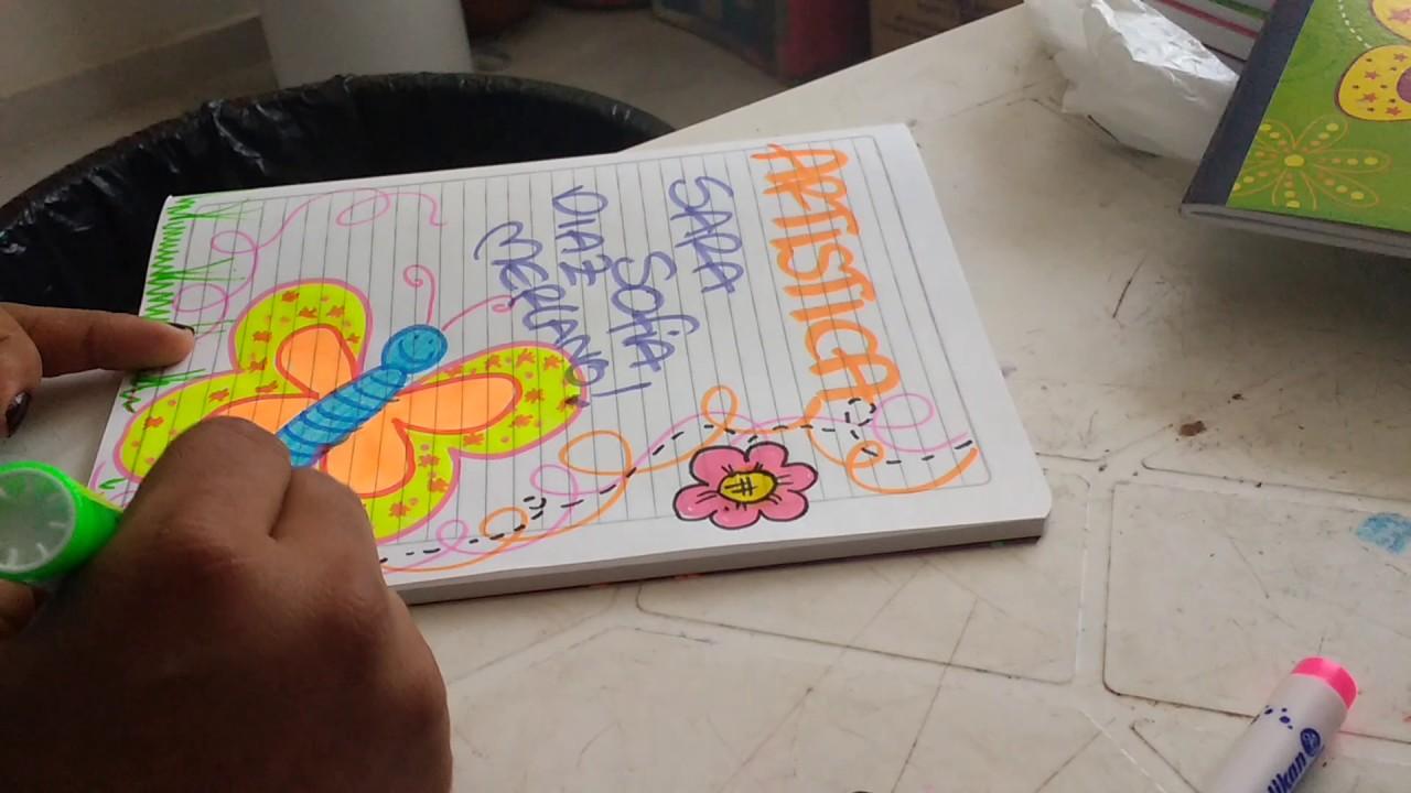 Cómo marcar cuaderno de artística Decorado con mariposita