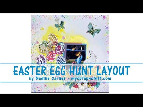 Easter Egg Hunt Scrapbook Layout Using Chipboard