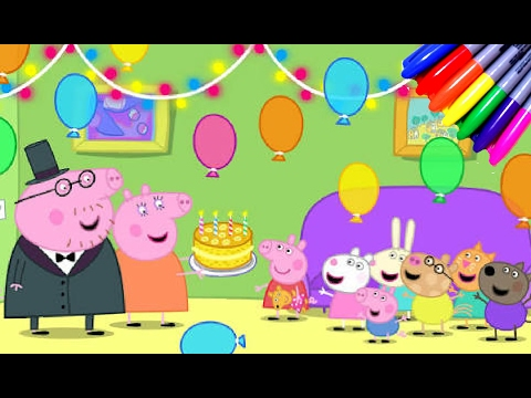 Peppa Pig Birthday Party Coloring Book Pages Kids Cartoons