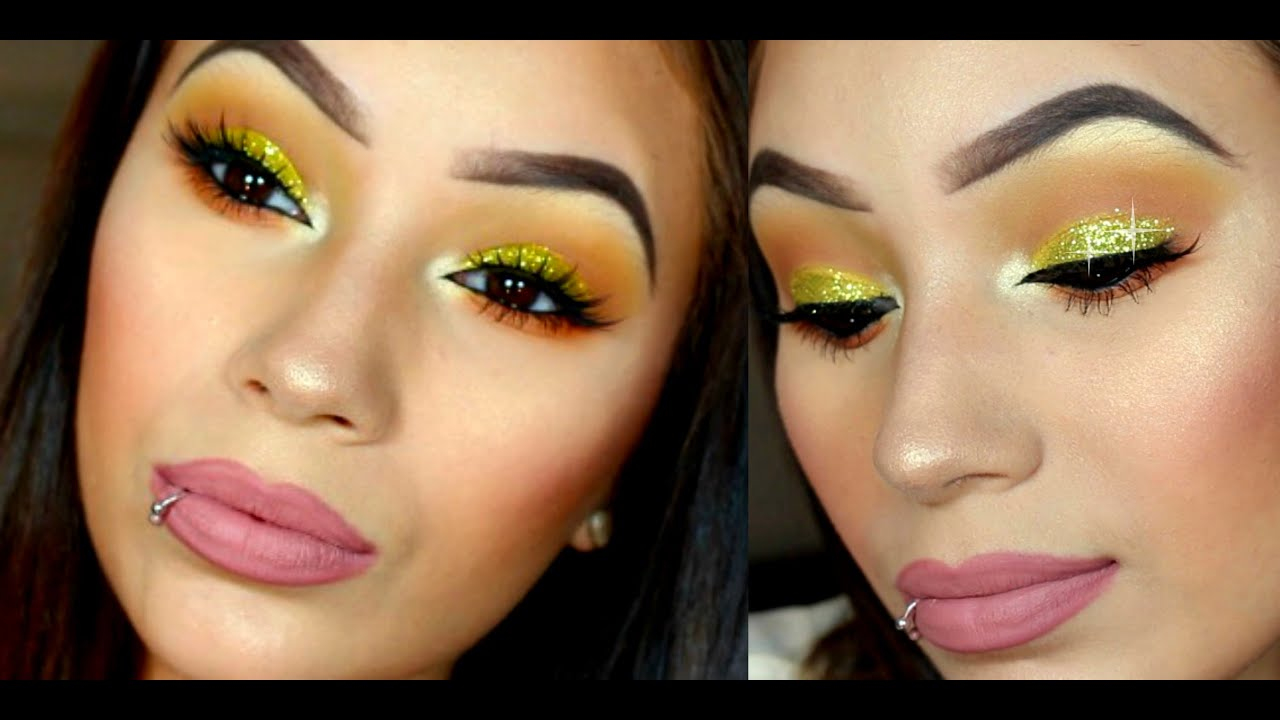 Yellow Glitter Eyes Makeup Tutorial Youtube