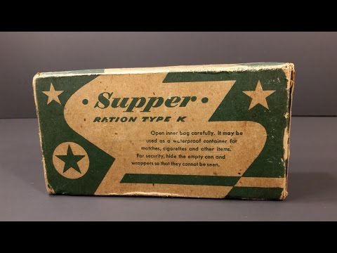 1945 US Military WW2 K Ration Supper Food MRE Review Antique Americana War Vintage Nestle Candy