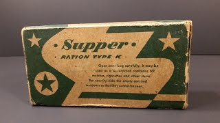 1945 US Military K Ration Supper Food MRE Review Antique Americana Vintage Nestle Candy Unboxing