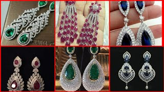 Exquisite beautiful Emerald pair of Ruby diamond silver long earrings designs for wedding