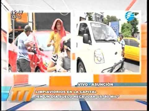 Así recaudan los limpiavidrios en Asunción 09/02/16
