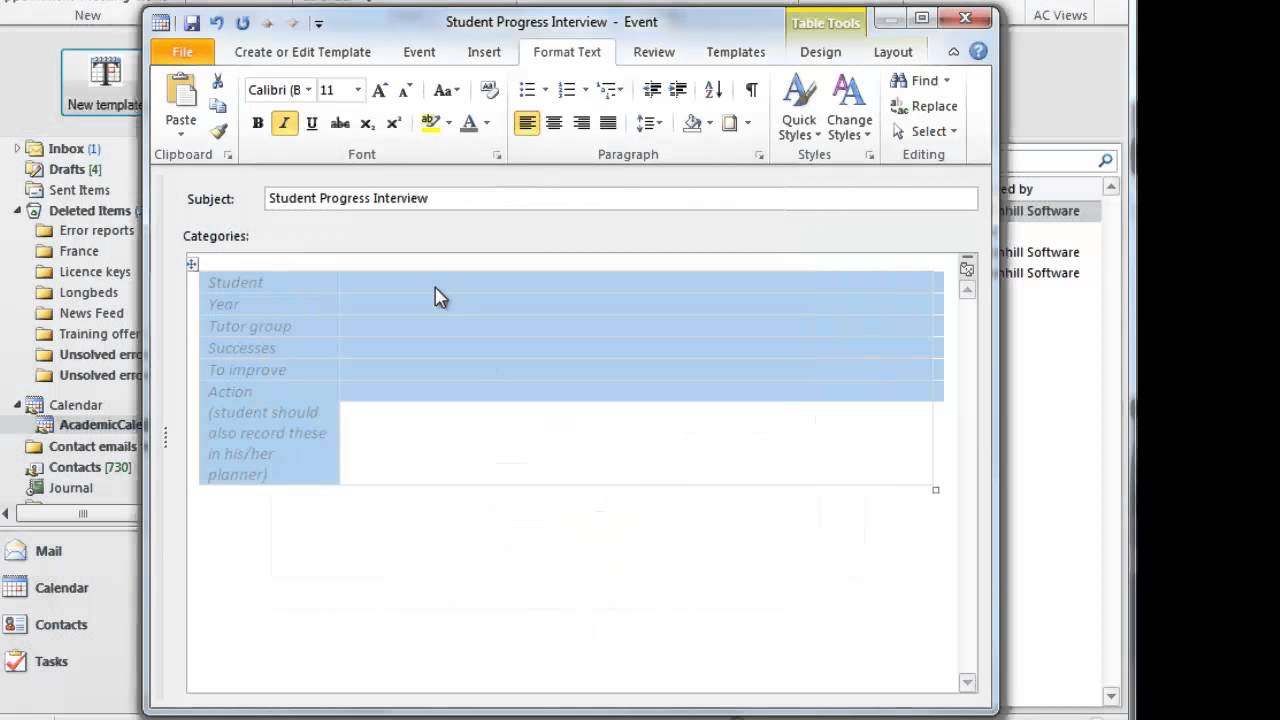 creating a template in outlook