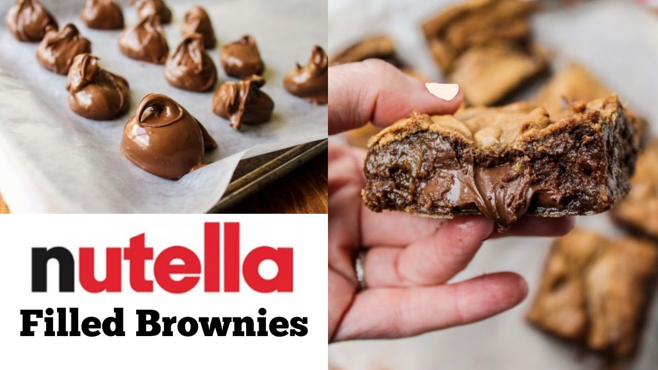 Nutella Topped Brownies How To Make Nutella Filled Brownies Youtube