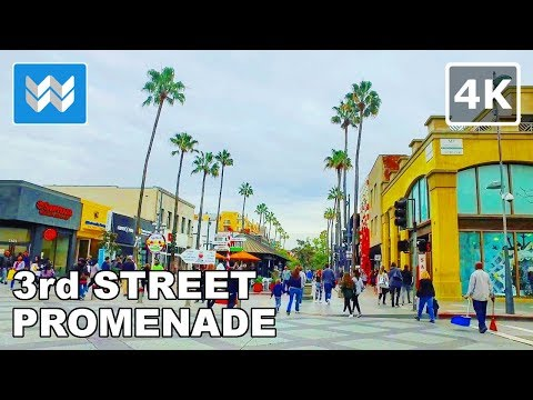 Walking around 3rd Street Promenade in Santa Monica, California - 4K