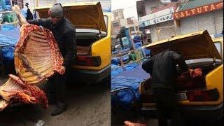 Bakı bazarında murdar ət satışı ŞOK video