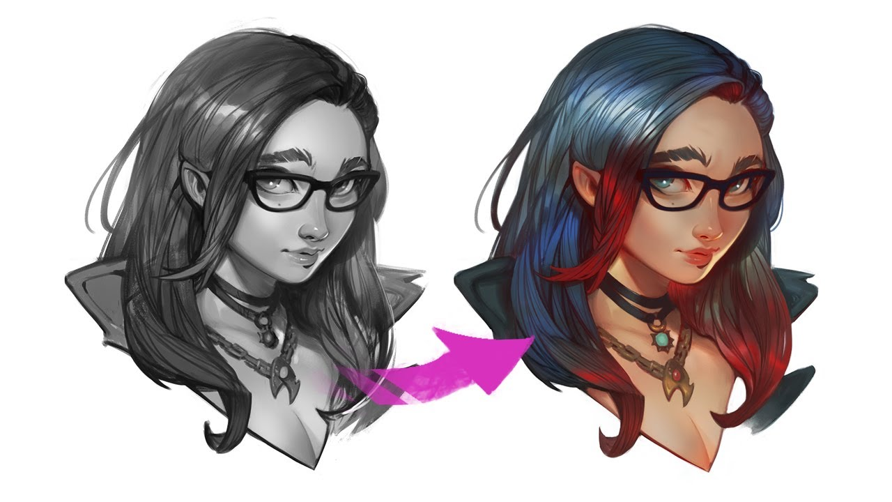 GREYSCALE to COLOR - Digital Painting Tutorial - YouTube