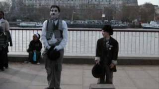 Charlie Chaplin impersonator, London, South Bank (2nd half)