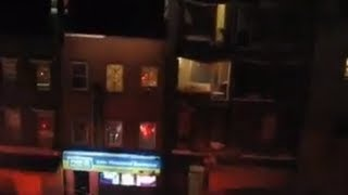 Hurricane Sandy Blows Front of NYC Building Off - ACTUAL FOOTAGE
